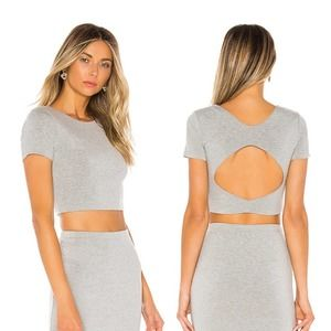 Superdown by Revolve Aerin Open back Cropped Tee Grey Small
